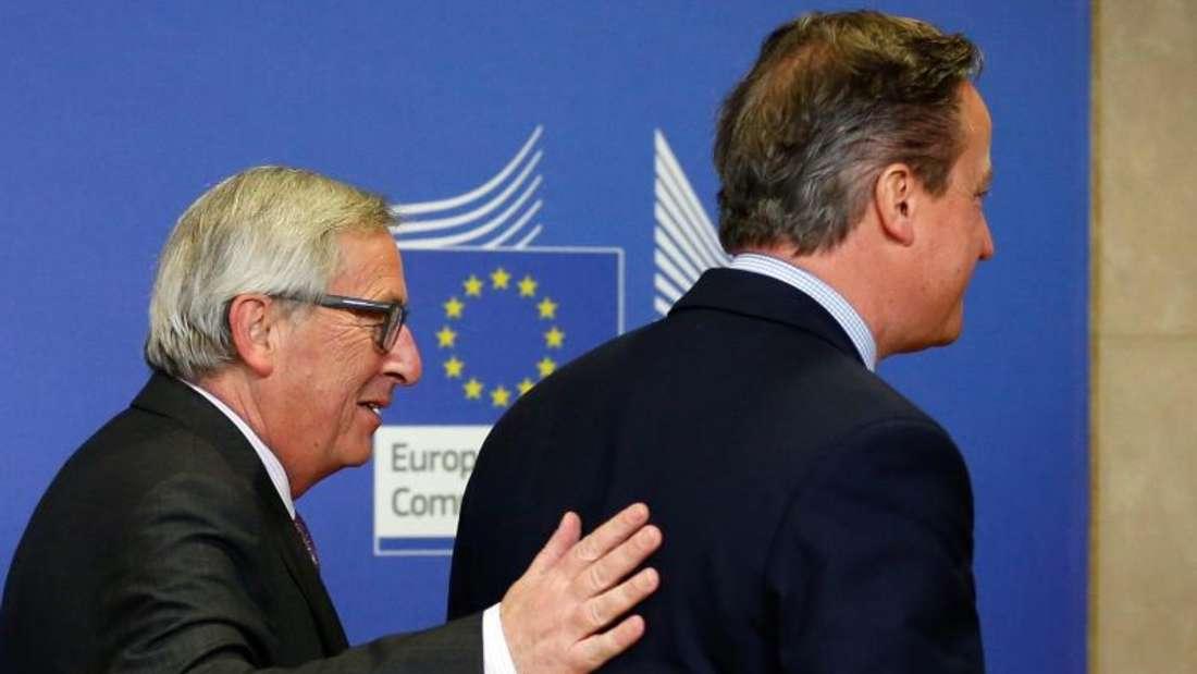 Der britische Premierminister David Cameron und EU-Kommissionschef Jean-Claude Juncker vor denGesprächen über eine Reform der EU. Foto: Laurent Dubrule