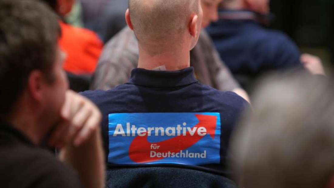 Ein Mitglied der AfD während einer Wahlkampfveranstaltung seiner Partei. Foto: Fredrik von Erichsen