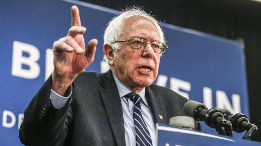 Der Senator von Vermont, Bernie Sanders, spricht in Manchester, Iowa, zu seinen Anhängern. Foto: Tannen Maury