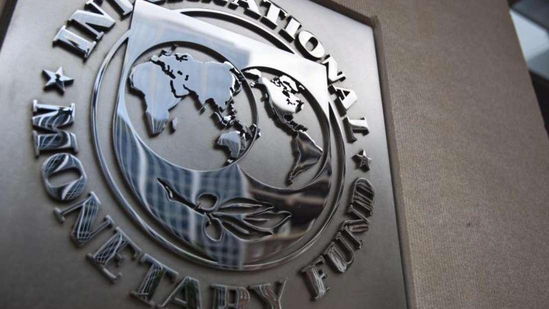 Logo des Internationalen Währungsfonds (IWF) an dessen Hauptsitz in Washington. Foto: Jim Lo Scalzo