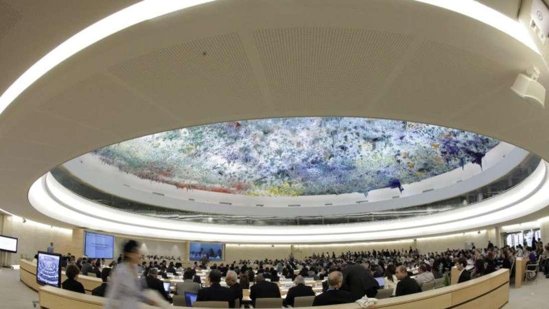 Sitzung des UN-Menschenrechtsrates im europäischen Hauptquartier der Vereinten Nationen in Genf. Foto: Salvatore Di Nolfi/Archiv
