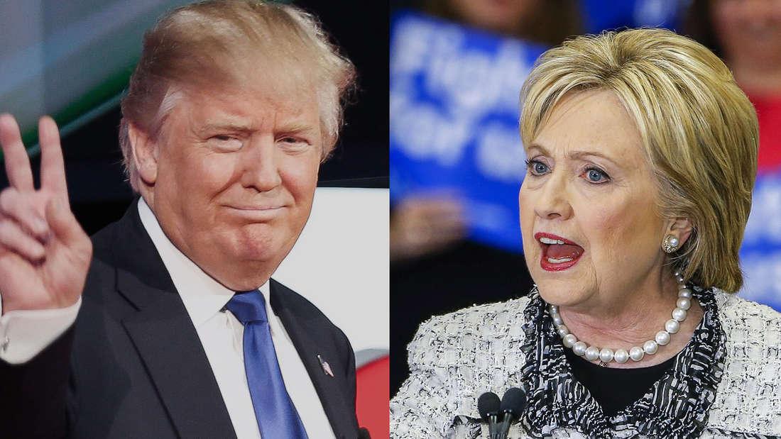 Derzeitsind Donald Trump (l.) bei den Republikanern und Hillary Clinton bei den Demokraten die Favoriten.