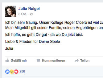 So trauert Julia Neigel bei Facebook.