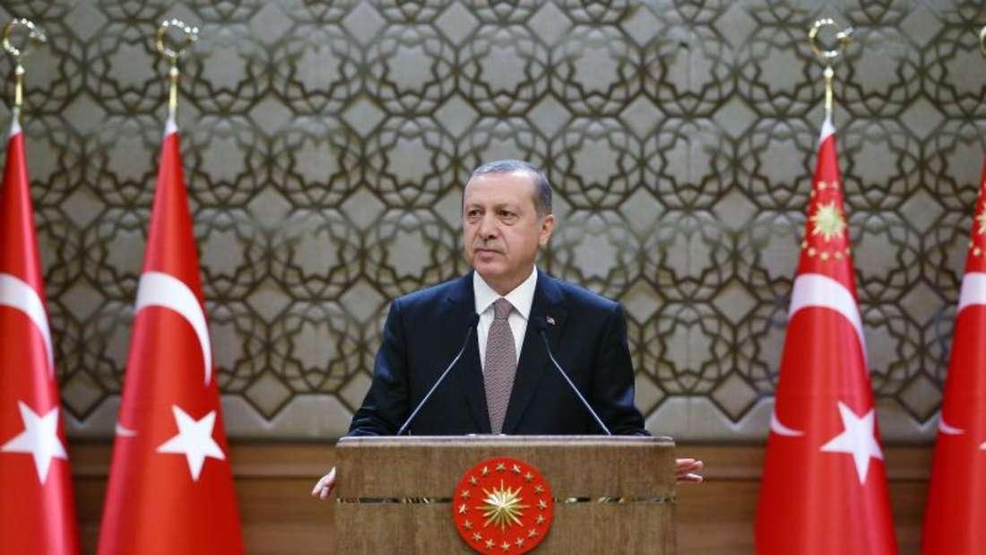 Der türkische Präsident Erdogan Ende vergangenenJahres. Ein ProtestAnkaras gegen eine TV-Satire wurde nun von Berlin offiziell zurückgewiesen. Foto: Turkish President Press Office