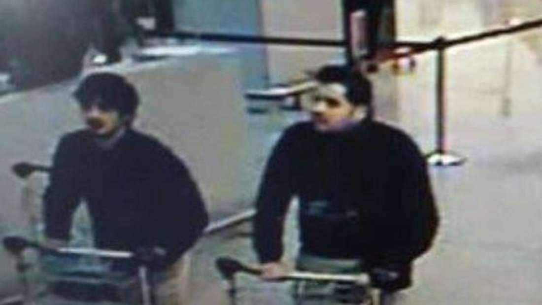 Die drei Attentäter am Flughafen von Brüssel kurz vor der Detonation der Sprengsätze, die zahleichen Menschen das Leben kostete. Foto:Federal Police
