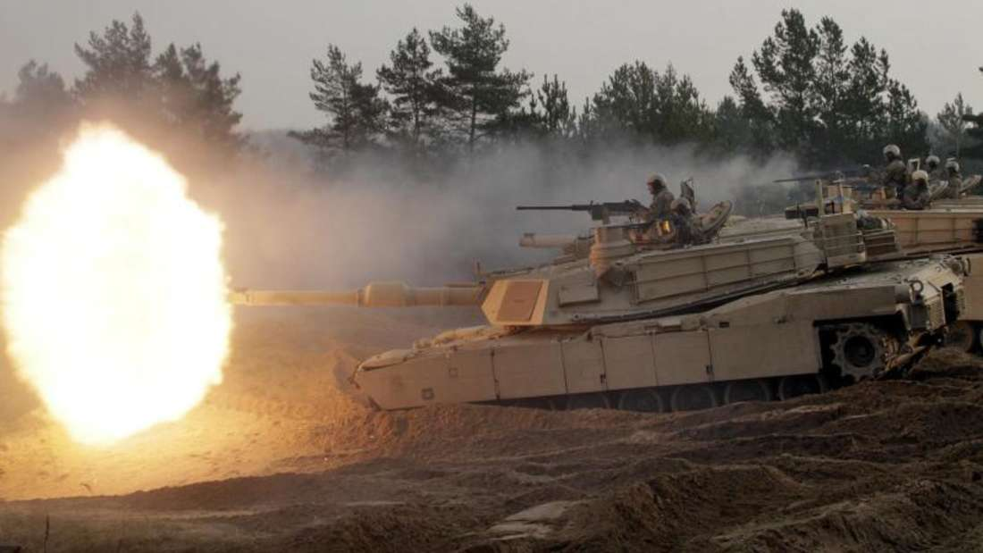 US-Abrams M1-Kampfpanzer inLettland. Die USAplanen eine Panzerbrigade nach Osteuropa zu verlegen. Foto:Valda Kalnina