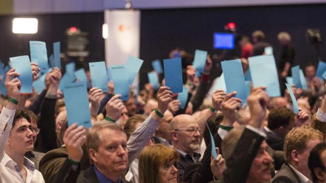Abstimmung:Die AfD will in Stuttgart bis Sonntagabend über ihr erstes Parteiprogramm beraten. Foto: Christoph Schmidt