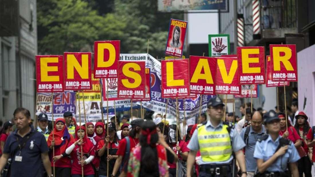 Demonstration in Hongkong gegen moderne Sklaverei. Foto: Jerome Favre/Archiv