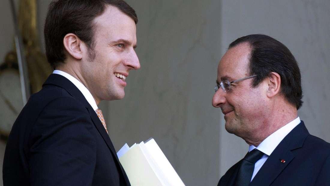 Emmanuel Macron undFrançois Hollande.