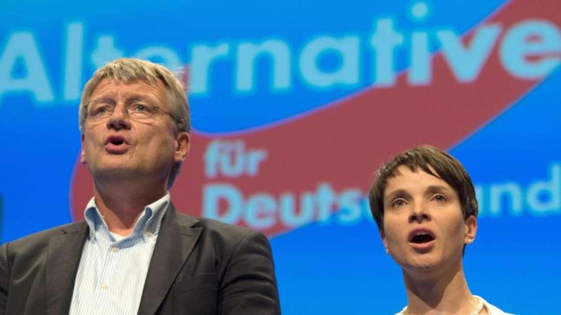 Die AfD-Parteivorsitzenden Jörg Meuthen und Frauke Petry Anfang Mai auf dem AfD-Bundesparteitag in Stuttgart. Foto: Marijan Murat