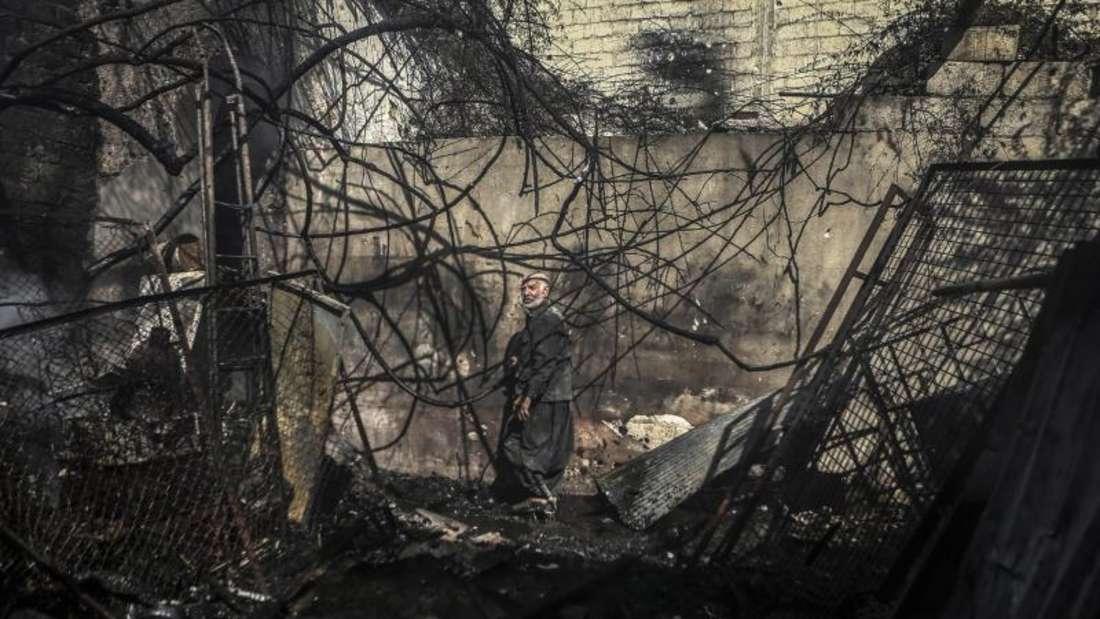 Ausgebombt: Douma nach einem Luftangriff. Foto:Mohammed Badra