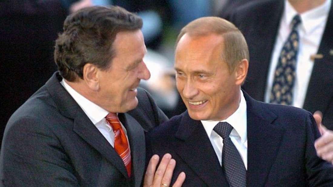 Ziemlich beste Freunde:Der damalige Bundeskanzler Gerhard Schröder begrüßt den russischen Präsidenten Wladimir Putin. Foto: Holger Hollemann
