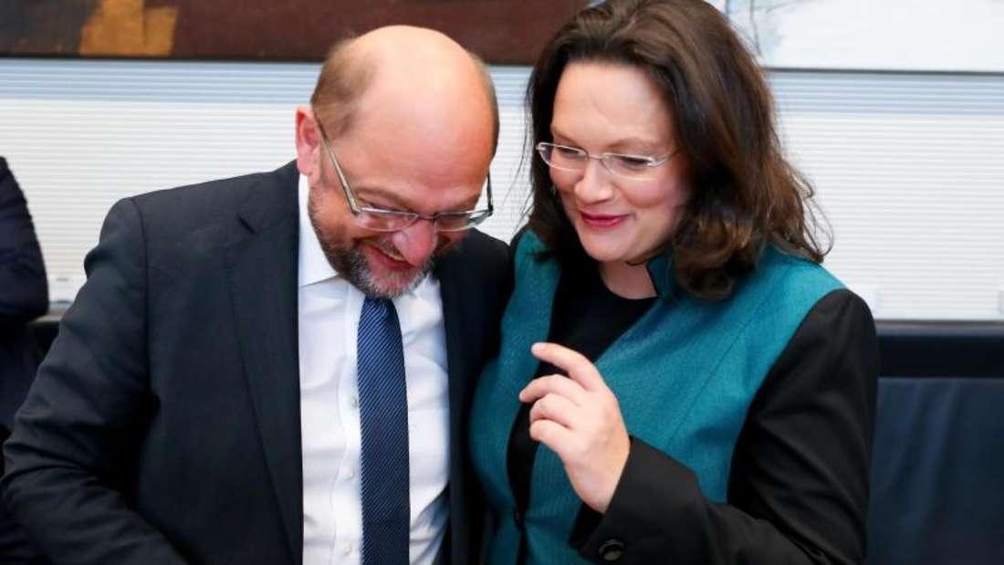 Der SPD-Parteivorsitzende Martin Schulz und Andrea Nahles zu Beginn der SPD-Fraktionssitzung. Foto:Kay Nietfeld