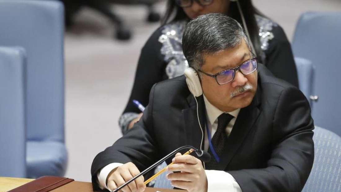 Der UN-Botschafter vonBangladesch, Masud Bin Momentan, während einer Sitzung des Sicherheitsrats zur Rohingya-Krise. UN-Generalsekretär Guterres nannte die Vorgänge einen «humanitären und menschenrechtlichen Alptraum». Foto: Bebeto Matthews