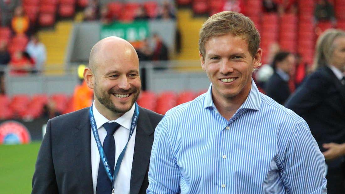 Alexander Rosen (li.) ist seit fünf Jahren Direktor Profifußball bei der TSG Hoffenheim.