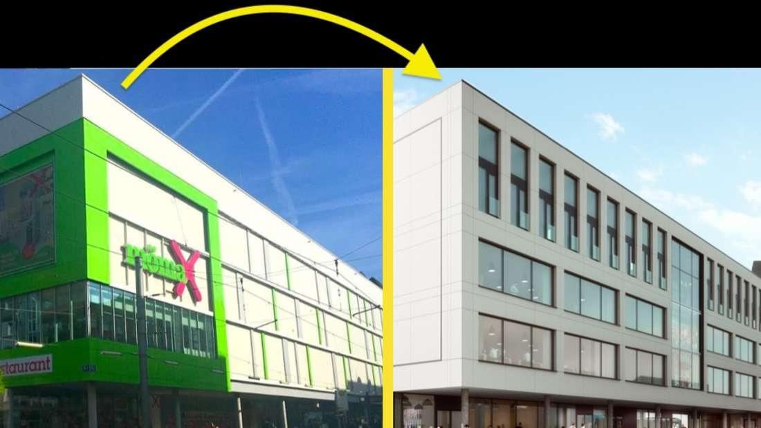 Vergleich mit Mömax Möbelhaus und neuem Einkaufshaus