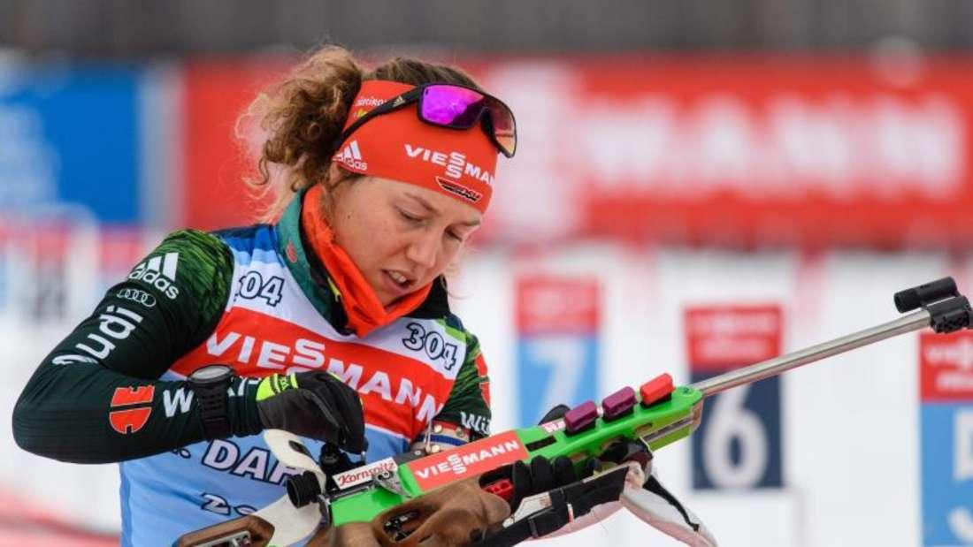 Laura Dahlmeier geht als Mitfavoritin beim Weltcup in Antholz in den Massenstart. Foto: Matthias Balk