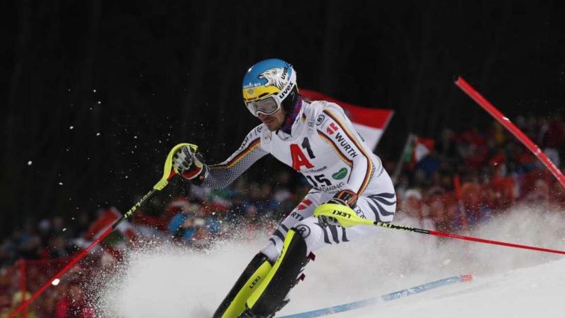 Felix Neureuther fährt beim Slalom-Weltcup in Schladming im ersten Durchgang. Foto: Erwin Scheriau/APA