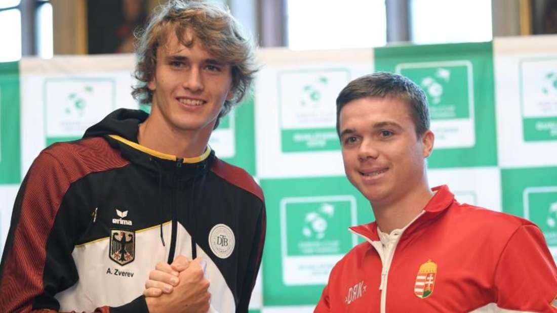Alexander Zverev (l) trifft auf Peter Nagy aus Ungarn. Foto: