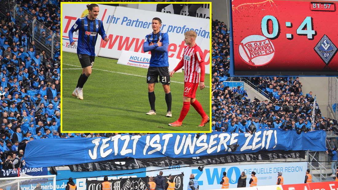 Der SV Waldhof Mannheim gewinnt bei den Kickers Offenbach mit 4:0.