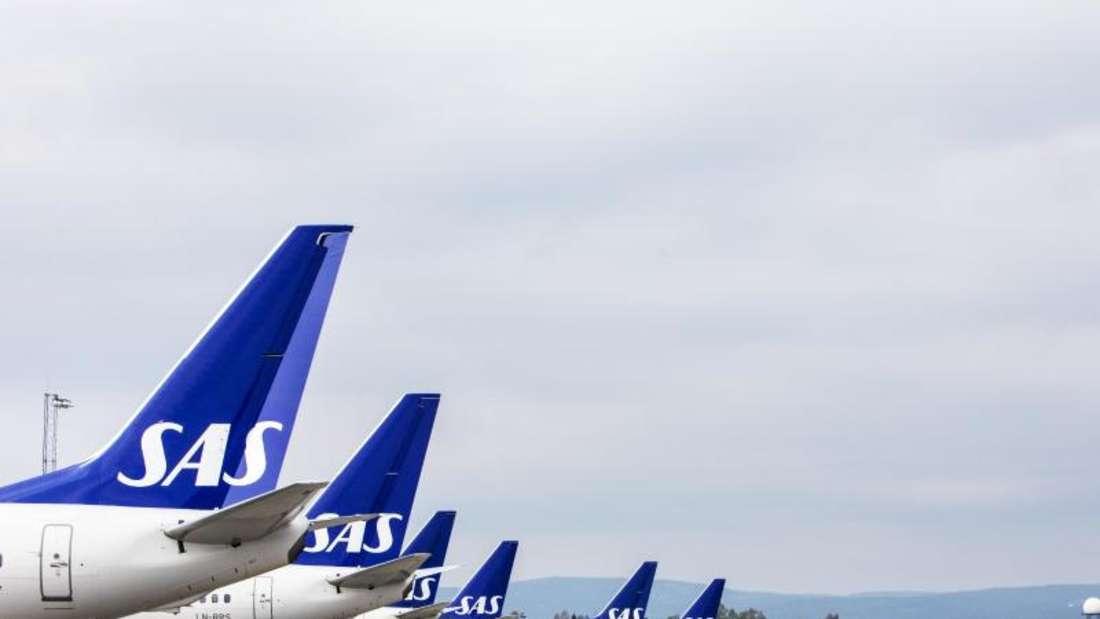 Viele bleiben vorerst am Boden: SAS-Flugzeuge stehen am Flughafen von Oslo während des Pilotenstreiks. Foto: Ole Berg-Rusten/NTB Scanpix