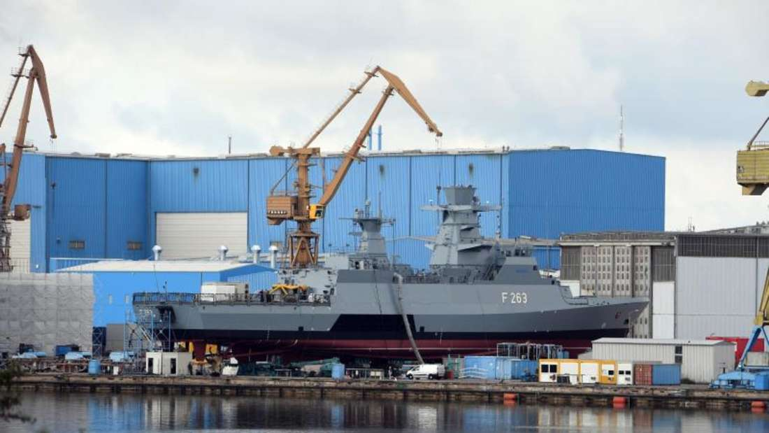 Kiellegung:Die Korvette «Oldenburg» auf der Peene-Werft. Foto: Stefan Sauer