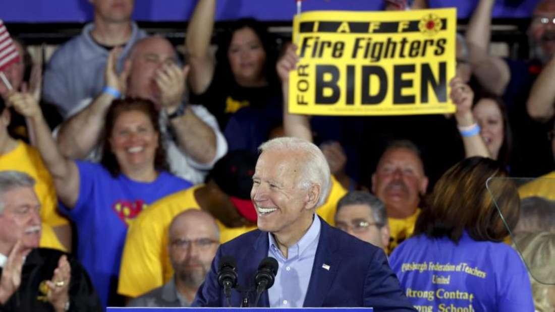 Joe Biden, ehemaliger Vizepräsident der USA und demokratischer Kandidat für die Präsidentschaftswahlen 2020, spricht auf einer Wahlkampfveranstaltung. Foto: Keith Srakocic/AP