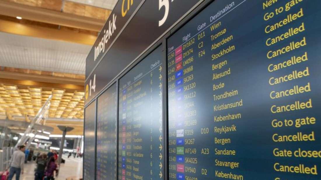 Für Mittwoch wurden 504 weitere SAS-Flüge in ganz Skandinavien gestrichen, wie die Airline mitteilte. Foto: Heiko Junge/NTB scanpix/dpa