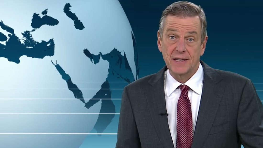 """Claus Kleber mit roter Krawatte zu Beginn der ZDF-""""heute journal""""-Sendung am 19. Februar 2019."""