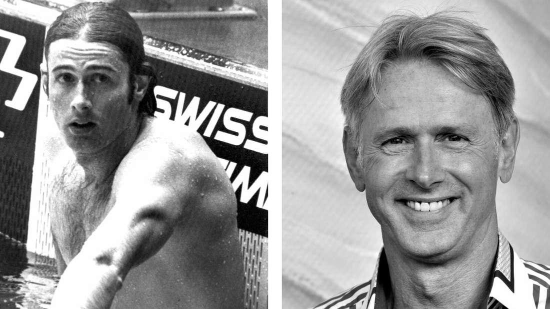Roland Matthes früher (lins) und heute (rechts): Der vierfache Olympiasieger starb mit 69 Jahren.