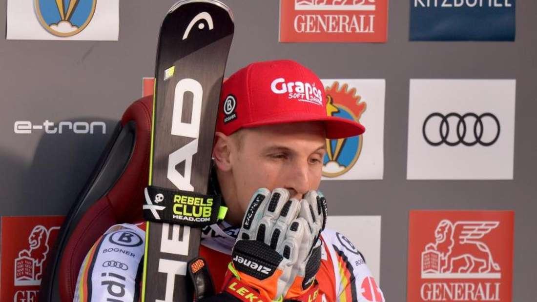 Fassungslos: Josef Ferstl gewann als erster Deutscher den Super-G in Kitzbühel. Foto: Herbert Neubauer/APA/dpa