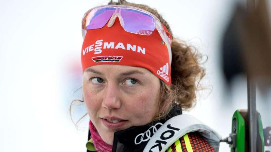 Dahlmeier wird sich im Rahmen des Show-Wettkampfes in der Arena auf Schalke von den Biathlon-Fans verabschieden. Foto: Sven Hoppe/Archivbild
