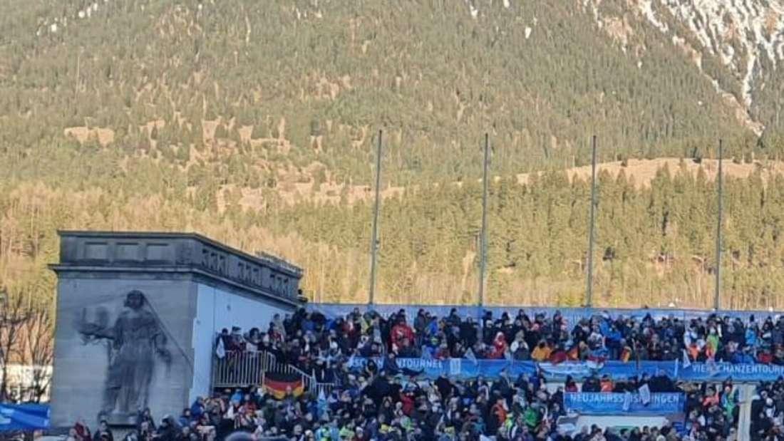 Springen in Garmisch: Die Stimmung ist hervorragend hier, auch das Wetter spielt mit.