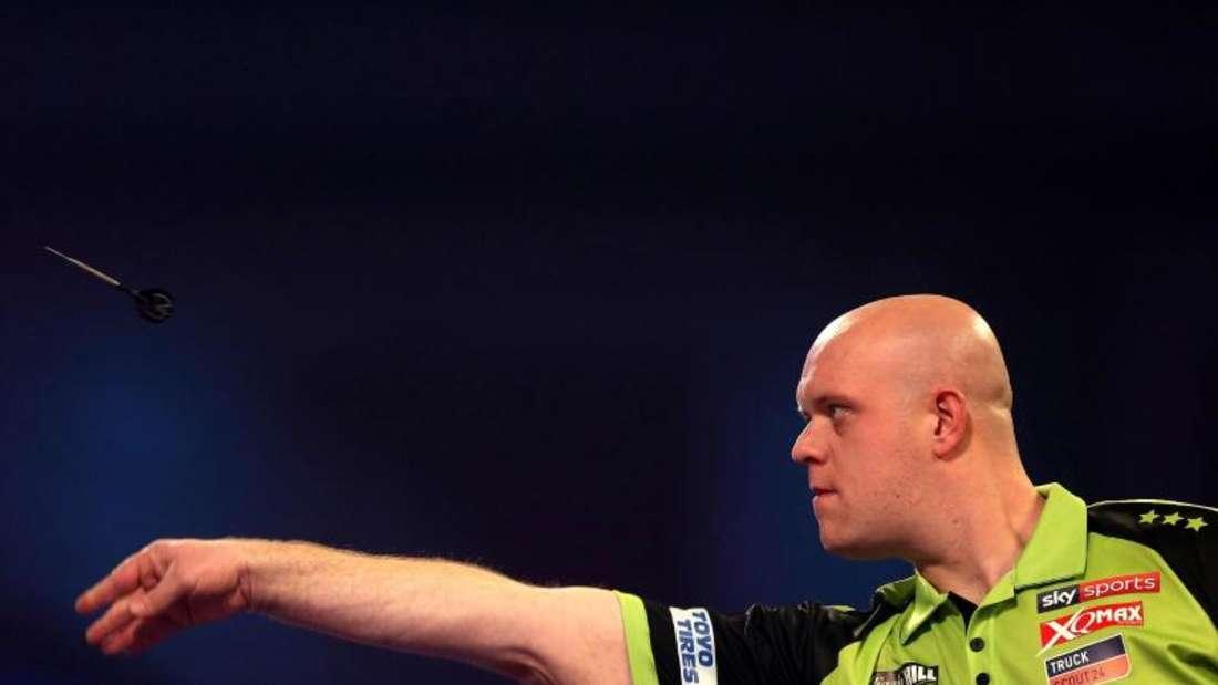Michael van Gerwen trifft im Halbfinale auf Nathan Aspinall. Foto: Steven Paston/PA Wire/dpa