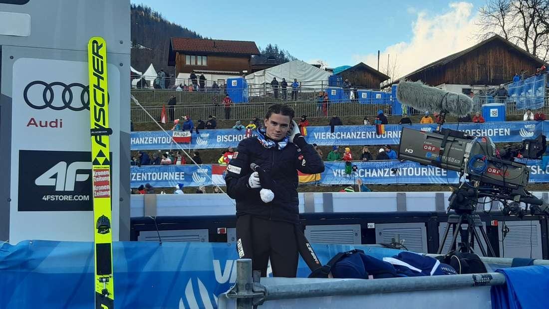 Qualifikation in Bischofshofen: Der Shooting-Star der Vierschanzentournee Marius Lindvik nach seinem Sprung.