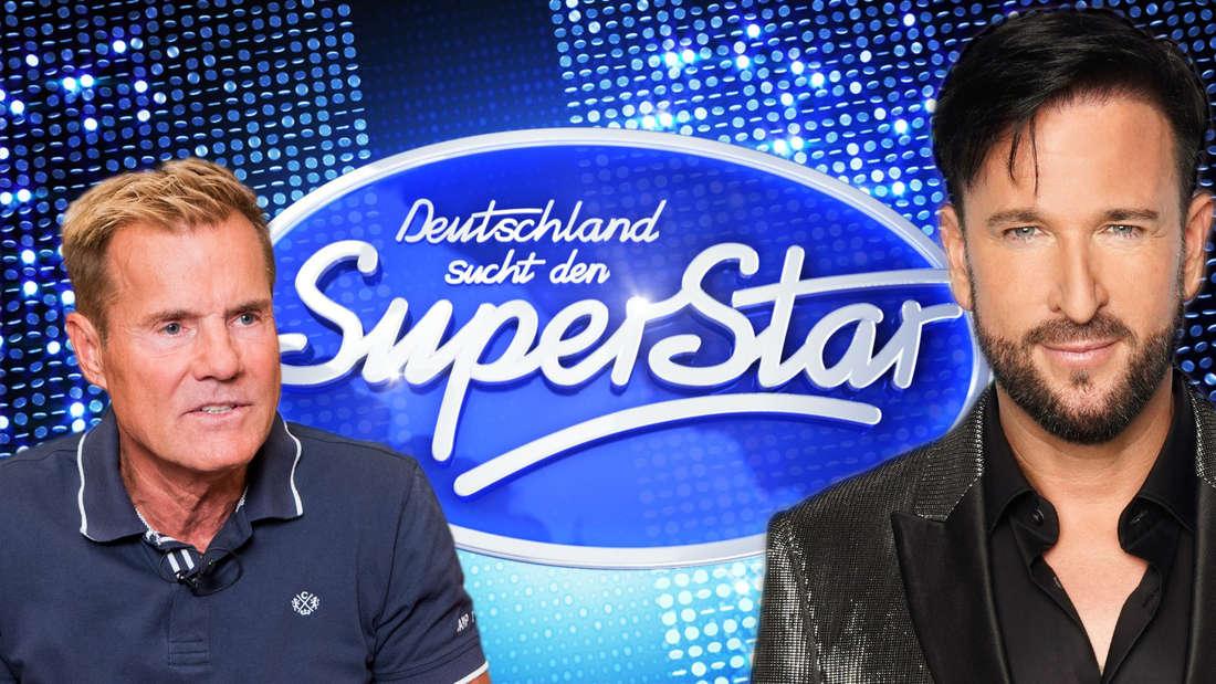 """Dieter Bohlen und Michael Wendler stehen vor dem """"Deutschland sucht den Superstar""""-Logo."""
