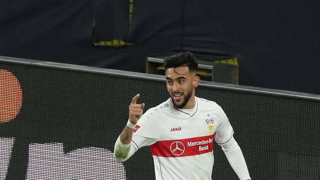 Nicolas Gonzalez vom VfB Stuttgart jubelt über ein Tor.