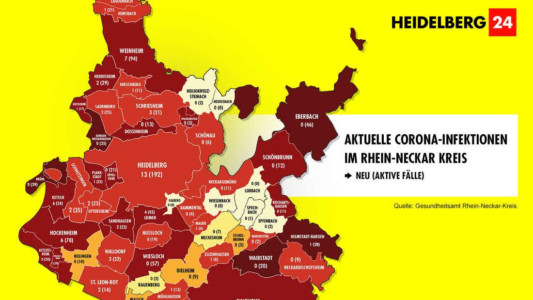 Die Grafik zeigt die Neuinfektionen in den 54 Gemeinden im Rhein-Neckar-Kreis sowie die Zahl der aktiven Fälle. (Stand 9. Mai)