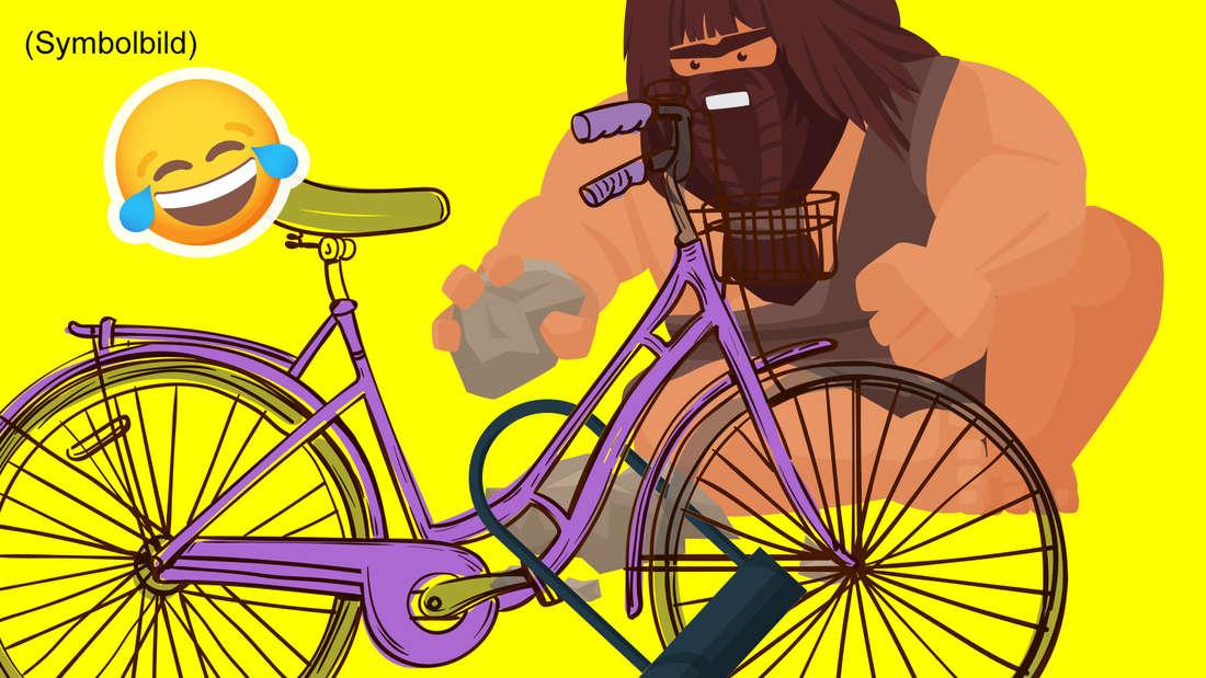 """""""Neandertaler"""" versucht mit Steinen das Schloss eines lilafarbenen Damenrads zu knacken (Symbolbild)."""