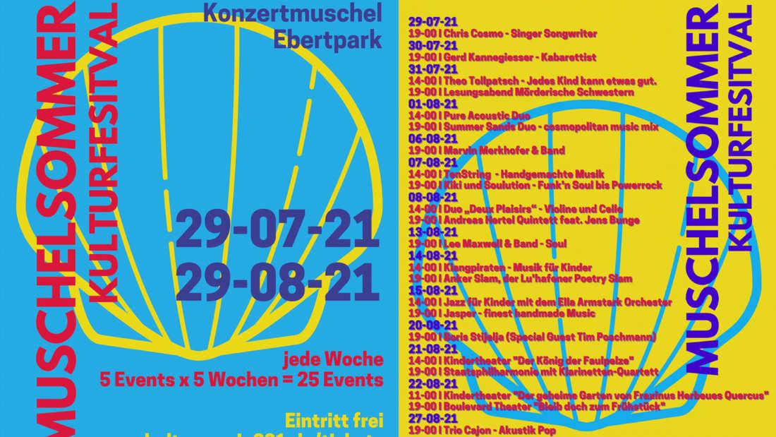"""Poster und Programm zum """"Muschelsommer"""" im Ludwigshafener Ebertpark."""