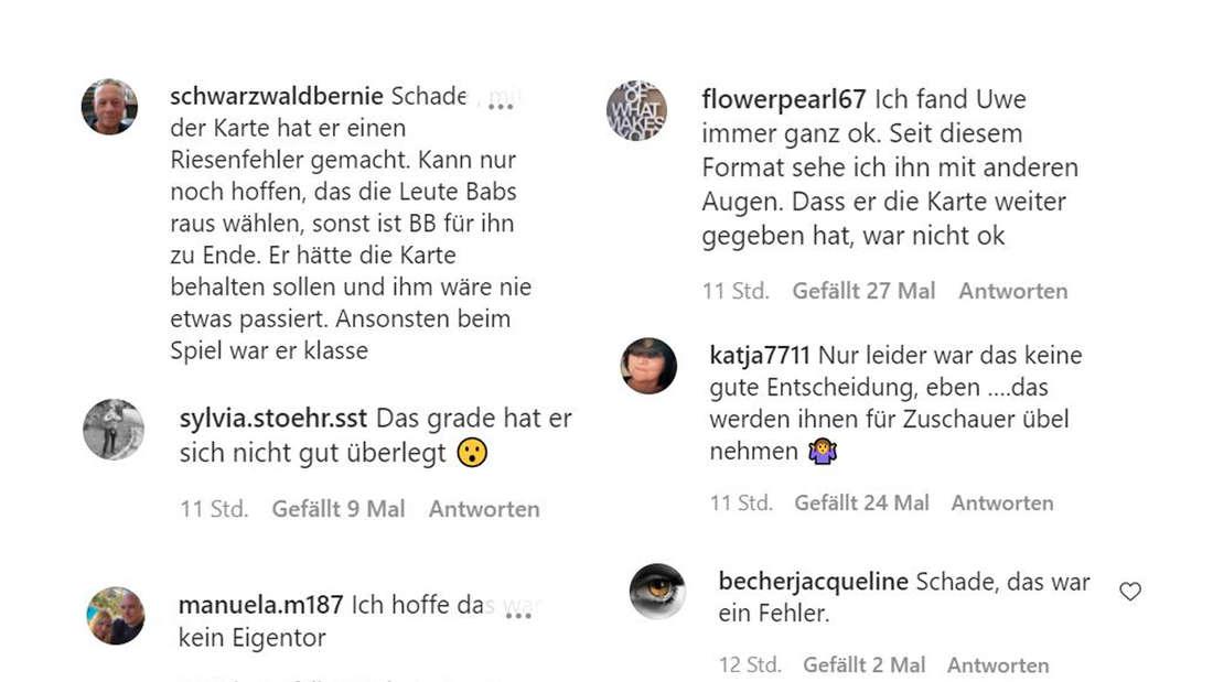 Screenshots von Kommentaren von Instagram